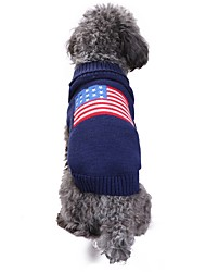 cheap -Cat Dog Costume Coat Sweater Dog Clothes Flag American/USA Blue Spandex Linen&Cotton Blend Chinlon Costume For Pets Casual/Daily Keep