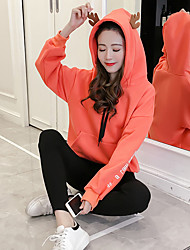 Women's To-Go Hoodie Solid Hooded Stretchy Polyester Long Sleeves Fall