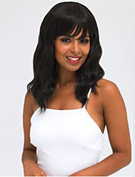 cheap -Black Capless Synthetic Wig Middle Long Wavy with Bangs for Women Wig