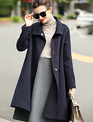 Women's Daily Wear to work Simple Casual Winter Coat,Solid Shirt Collar Long Sleeves Regular Wool