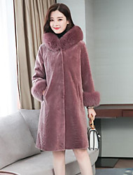 Women's Casual/Daily Simple Winter Coat,Solid Hooded Long Sleeves Long Wool