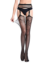 cheap -Women's Thin Stockings,Nylon Striped Floral Jacquard One-piece Suit Black