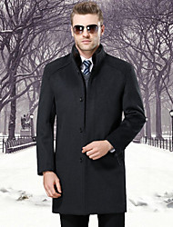 cheap -Men's Daily Simple Casual Winter Fall Coat,Solid Stand Long Sleeves Long Wool Polyester