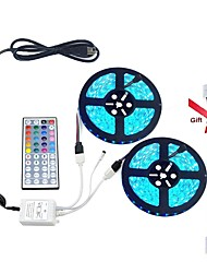 cheap -Led Strip Light Kit 5050 Waterproof(2X5M) 600leds RGB 60leds/m with 44key Controller and 12V6A Power Supply(Gift 2PCS 5050 Strip Light Connector)