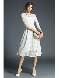 cheap -Women's Cute Street chic A Line Swing Dress - Lolita Stitching Lace, Lace High Waist