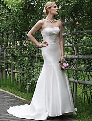 cheap -Mermaid / Trumpet Strapless Sweep / Brush Train Lace Satin Wedding Dress with Appliques Lace by LAN TING BRIDE®