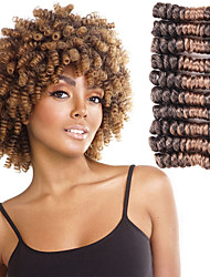 cheap -Curly Braids Hair Braid Carrie Curl 100% Kanekalon Hair Black Dark Brown Black/Strawberry Blonde Black/Burgundy 8 inch Braiding Hair Hair