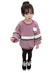 baratos -Para Meninas Blusa Listrado Estampa Colorida Inverno Outono Cashmere Poliéster Manga Comprida Padrão