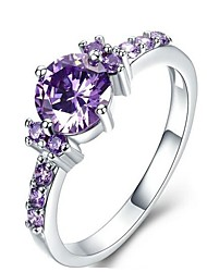 cheap -Women's Band Ring Synthetic Amethyst Purple Silver Plated Austria Crystal Alloy Circle Simple Fashion Daily Going out Costume Jewelry