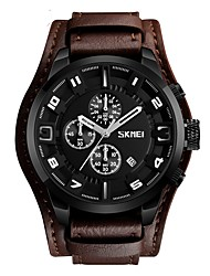 cheap -SKMEI Men's Sport Watch / Wrist Watch Chinese Calendar / date / day / Water Resistant / Water Proof / Stopwatch Genuine Leather Band Luxury / Vintage / Fashion Black / Brown / Large Dial