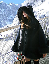 Women's Daily Going out Street chic Winter Fall Cloak/Capes,Solid Hooded Long Sleeves Regular Faux Fur