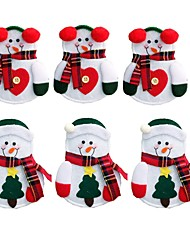 cheap -6pcs Xmas Decor Lovely Snowman Kitchen Tableware Holder Pocket Dinner Cutlery Bag Party Christmas Table Decoration