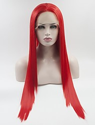 cheap -Synthetic Lace Front Wig Red Women's Lace Front Natural Wigs Medium Long Synthetic Hair