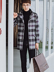 Men's Daily Going out Street chic Winter Fall Coat,Plaid Stand Long Sleeves Long Nylon