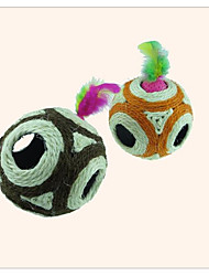 baratos -Penas para Gatos Jogos para Gatos Jingle Bell Tapete de Arranhar Leve e conveniente Cordão Algodão Sisal Para Gato Gatinho