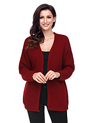 cheap -Women's Daily Going out Casual Regular Cardigan,Solid V Neck Long Sleeves Polyester Elastane Autumn/Fall Thick Micro-elastic