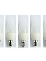 cheap -5pcs 3W 225lm E14 LED Globe Bulbs C35 5 LED Beads SMD 3528 Cold White 110-240V