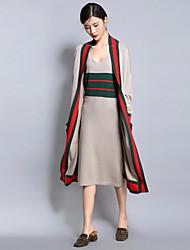 Chandail Robes Costumes Femme,Couleur Pleine Décontracté / Quotidien Travail simple Automne Manches Longues Col Arrondi Autres