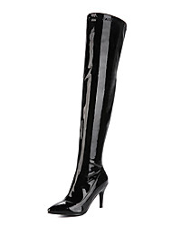 cheap -Women's Shoes Patent Leather / PU(Polyurethane) Fall / Winter Fashion Boots Boots Stiletto Heel Pointed Toe Thigh-high Boots White /