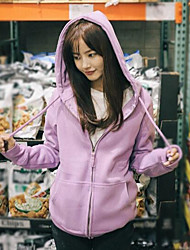 Women's Daily Hoodie Jacket Solid Cotton Polyester