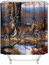 cheap -3D Digital Print Deer Jungle Animal Polyester Waterproof Curtain