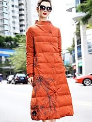 Dámské Dlouhé Dlouhý kabát Jednoduchý Čínské vzory Wear to work Denní nošení Jednobarevné-Kabát Polyester Dlouhý rukáv