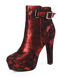 cheap -Women's Shoes Nubuck leather Fall Winter Fashion Boots Bootie Boots Round Toe Booties/Ankle Boots Buckle For Party & Evening Dress Red