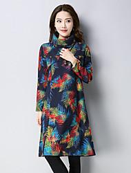 preiswerte -Damen A-Linie Kleid-Ausgehen Lässig/Alltäglich Retro Geometrisch Rollkragen Knielang Langärmelige Leinen Winter Herbst Hohe Taillenlinie