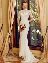 cheap -Mermaid / Trumpet High Neck Sweep / Brush Train Lace Wedding Dress with Appliques Sashes / Ribbons by LAN TING BRIDE®