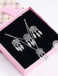 preiswerte -Damen Tropfen-Ohrringe versilbert vergoldet Traumfänger Elegant Geschenk 1 Halskette 1 Armreif 1 Ring Ohrringe Modeschmuck