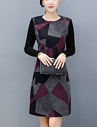 cheap -Women's Daily Wear Work Street chic Sheath Dress,Color Block Round Neck Above Knee Long Sleeve Others Winter Fall Mid Rise Micro-elastic
