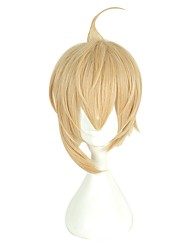 cheap -Synthetic Wig / Cosplay & Costume Wigs Straight Blonde Asymmetrical Haircut / With Bangs Synthetic Hair Natural Hairline Blonde Wig Women's Short Capless