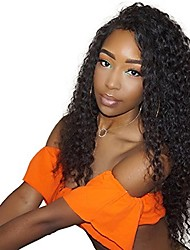 cheap -100% Human Virgin Hair Loose Curly Natural Color Lace Front Wig with Baby Hair for Black Women