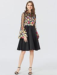 preiswerte -A-Linie Prinzessin Schmuck Kurz / Mini Satin Tüll Cocktailparty Kleid mit Applikationen durch TS Couture®