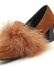 Femme Chaussures Daim Polyuréthane Hiver Automne Confort Mocassins et Chaussons+D6148 Block Heel Bout carré Pour Décontracté Noir Marron