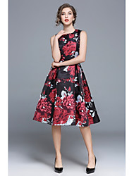 cheap -Women's Going out Vintage / Street chic A Line / Swing / Skater Dress - Floral High Waist / Summer / Floral Patterns