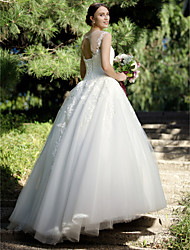 cheap -Ball Gown Illusion Neckline Floor Length Tulle Lace Over Tulle Custom Wedding Dresses with Appliques Lace by LAN TING BRIDE®