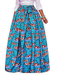 Women's Going out Holiday Floor-length Skirts,Vintage Boho Swing Print Spring Fall
