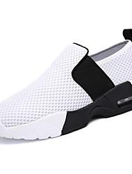 Feminino Sapatos Tule Primavera Outono Conforto Tênis Caminhada Sem Salto Ponta Redonda Botas Curtas / Ankle Presilha Para Branco Preto