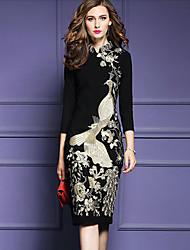 Недорогие -Для женщин Для вечеринок Офис Винтаж Шинуазери (китайский стиль) Богемный Облегающий силуэт Оболочка Платье Вышивка,Асимметричный вырез