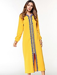 Women's Daily Tunic Dress,Solid Round Neck Maxi Long Sleeve Cotton All Season Mid Rise Micro-elastic Opaque
