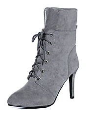 cheap -Women's Shoes Leatherette Winter Fashion Boots Boots Stiletto Heel Pointed Toe Mid-Calf Boots Lace-up For Casual Dress Red Yellow Gray