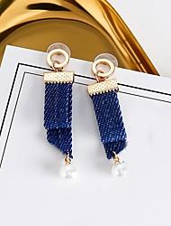 abordables -Femme Adorable Perle imitée Imitation de perle Boucles d'oreille goutte / Boucles d'oreille gitane - simple / Rétro / Décontracté Bleu