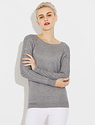 cheap -Women's Daily Regular Pullover,Solid Round Neck Long Sleeves Cotton Linen Fall Medium Micro-elastic