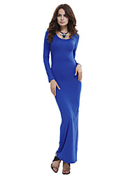 cheap -Women's Beach Club Bodycon Sheath Dress - Solid Colored Blue High Rise Maxi
