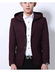 Pánské Jednobarevné Běžné/Denní Jednoduchý Blejzr-Podzim Polyester Kapuce Dlouhý rukáv Standardní