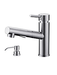 Modern/Comtemporary Modern/Contemporary Deck Mounted Pullout Spray with  Ceramic Valve Chrome  Kitchen faucet