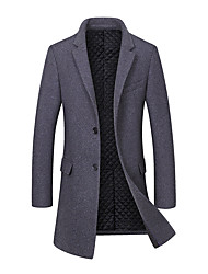 cheap -Men's Daily Simple Casual Winter Fall Long Coat,Solid V-neck Wool Polyester