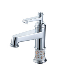 cheap -Classic Style Luxury Centerset High Quality Ceramic Valve Single Handle One Hole Chrome , Bathroom Sink Faucet