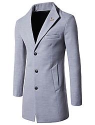 economico -Cappotto Da uomo Per uscire Semplice Vintage Inverno,Tinta unita A V Cotone Lungo Maniche lunghe Con perline